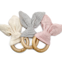 Bunny Ear Teething Ring in cream, grey and pink
