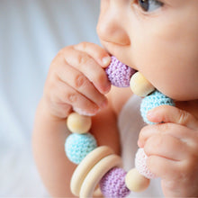 Unicorn Crohet Wood Bead Teething Toy