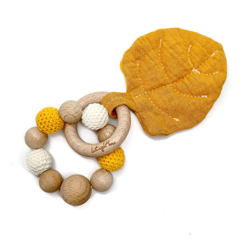 Mustard Aspen Leaf Teething Toy