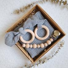 Grey 100% cotton Baby Lovey Gift Set with Teething Toy & Wood Rattle or Pacifier Clip