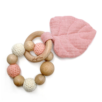 Coral Aspen Leaf Teething Toy