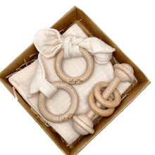 Cream 100% cotton Baby Lovey Gift Set with Teething Toy & Wood Rattle or Pacifier Clip