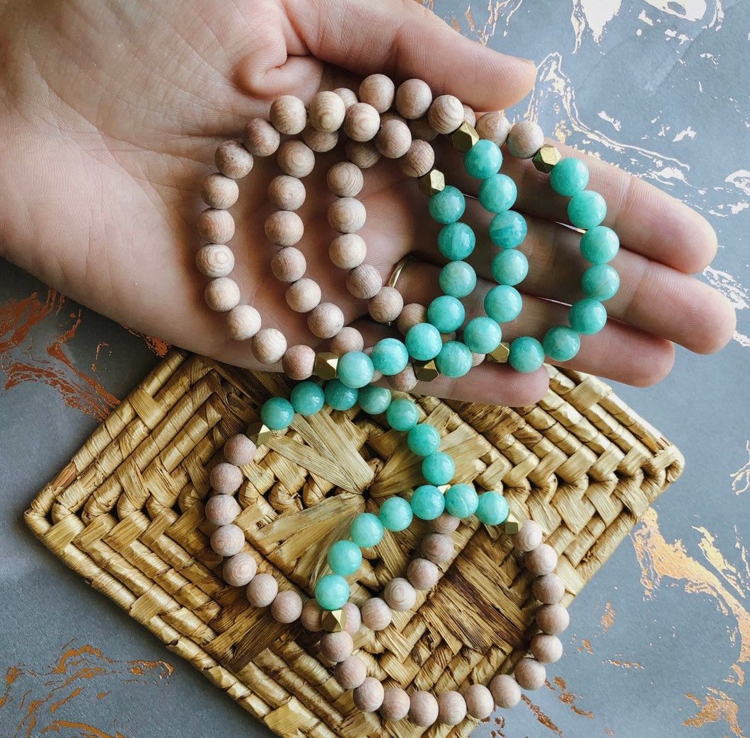 Aqua Amazonite Rose Wood Diffuser Bracelet