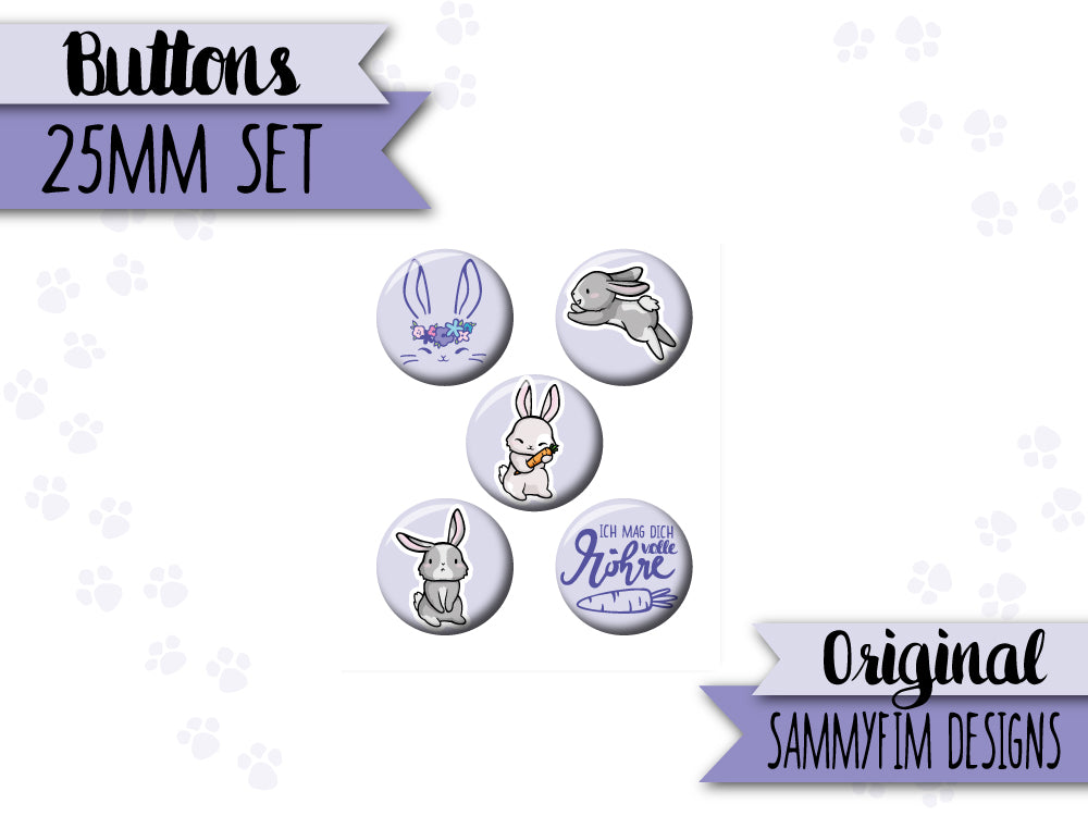 Buttons Set (25mm) ♥ Ei Love Ostern ♥ Hasen