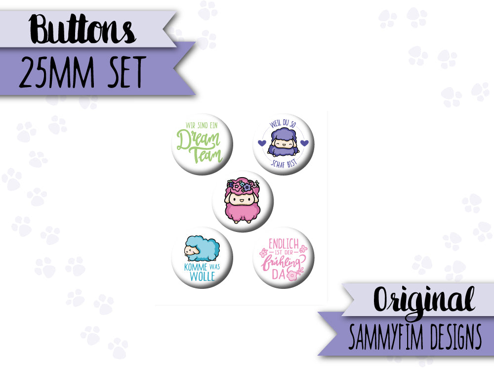 Buttons Set (25mm) ♥ Ei Love Ostern ♥ Schafe