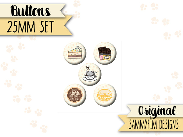 Buttons Set (25mm) ♥ Zuckersüß ♥ Creme