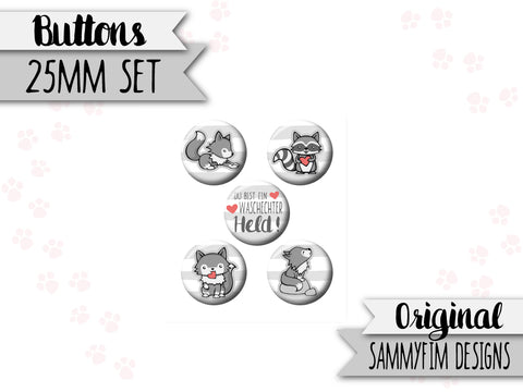 Buttons Set (25mm) ♥ Waldzauber ♥ Grau