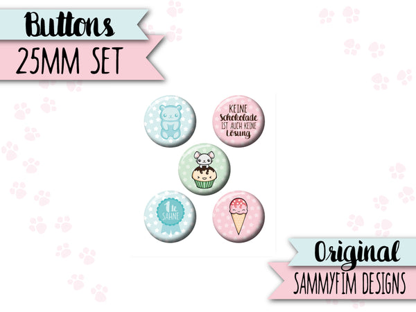 Buttons Set (25mm) ♥ Zuckersüß ♥ Bunt