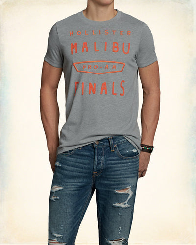 Men's Crew Neck T-Shirt - Grey/Orange