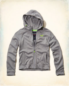 Men's Sport Full-Zip Active Wear Hoodie Jacket - Grey