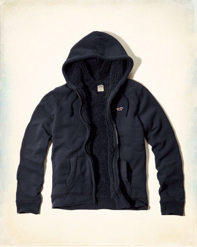 Men's full Sherpa-Lined Hoodie - Navy