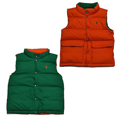 Boys Puffer vest Button Up Reversible-Green