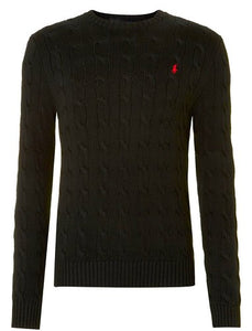Classic cable knit crew neck jumper - Black