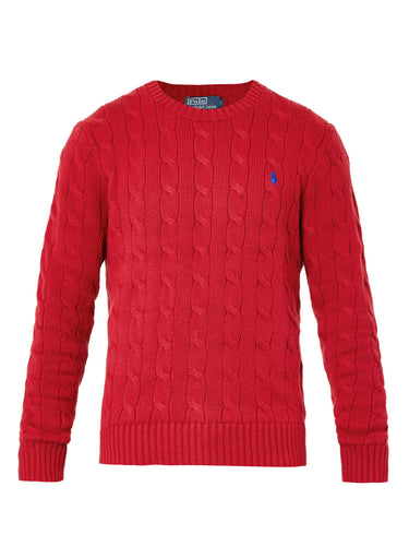 Cable knit crew neck jumper - Red