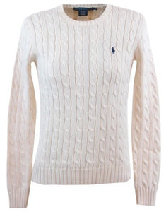 women's crew neck cable knit jumper -cream-