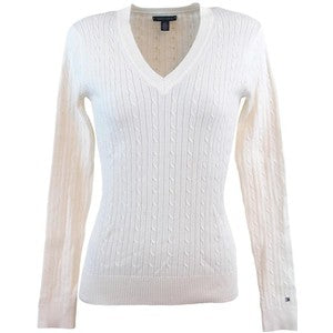 Cable Knit V-Neck Jumper Ladies - Cream