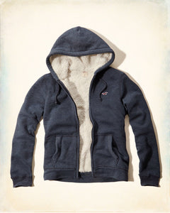 Men's full Sherpa-Lined Hoodie - Blue