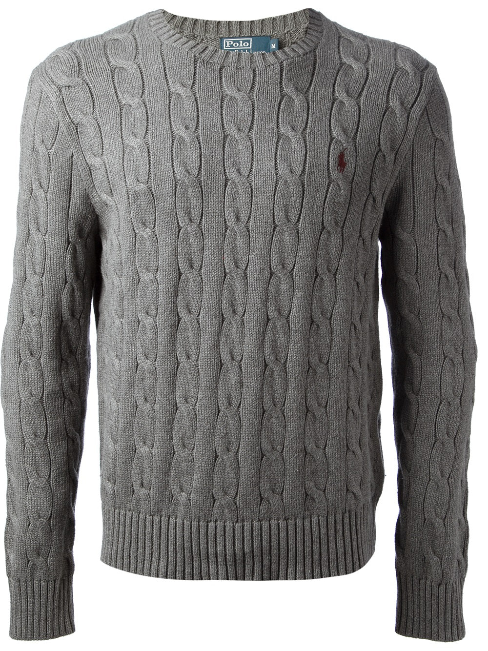 Cable knit crew neck jumper - Grey