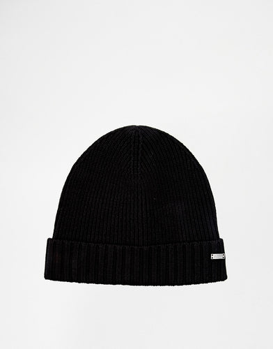 Hat Ribbed Wool 'Fati' Beanie - Black