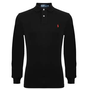 Classic Fit Long Sleeved Polo - black  £80.00