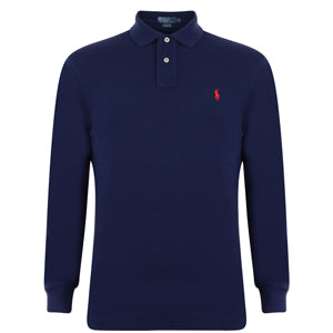Classic Fit Long Sleeved Polo - Navy  £80.00
