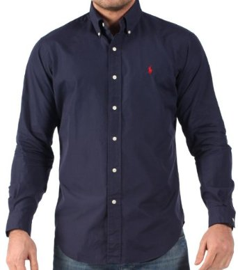 Mens long sleeve classic fit shirt - Navy