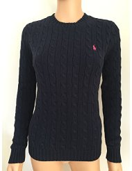 women's crew neck cable knit jumper -Navy-