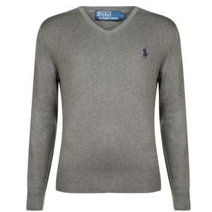 Pima Cotton Logo V-Neck Knit - grey