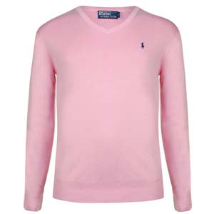 Pima Cotton Logo V-Neck Knit - pink