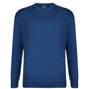 Logo Cotton Crew Neck Knit-blue