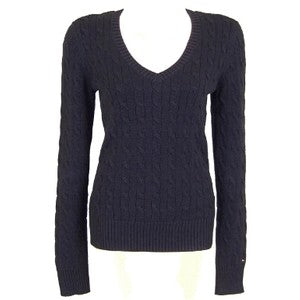 Cable Knit V-Neck Jumper Ladies - Navy Blue