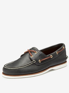 Classic 2 Eye Boat Shoe Leather - Navy