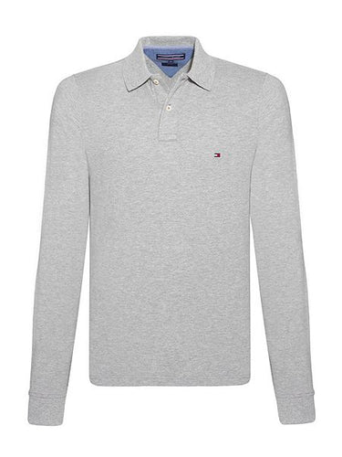 classic Fit Long Sleeve Polo - Grey