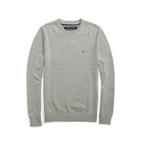 Crew Neck Cotton Jumper Mens - Grey