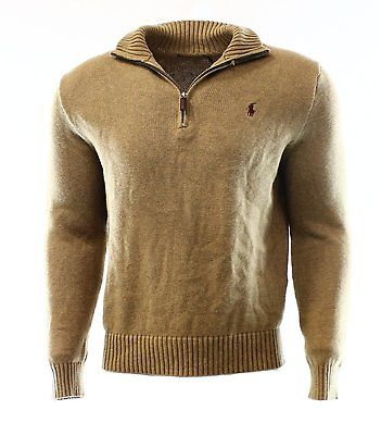 men's half zip jumper - RYE BROWN