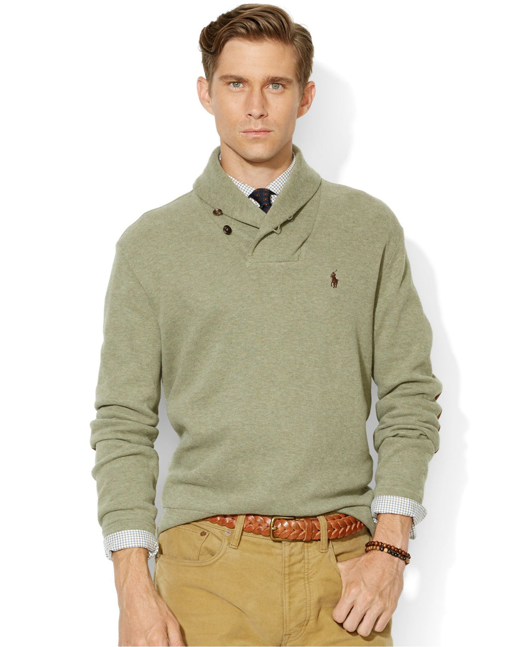 Mens shawl collar sweater - Sage