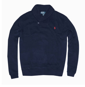 Shawl Neck Jumper -Navy