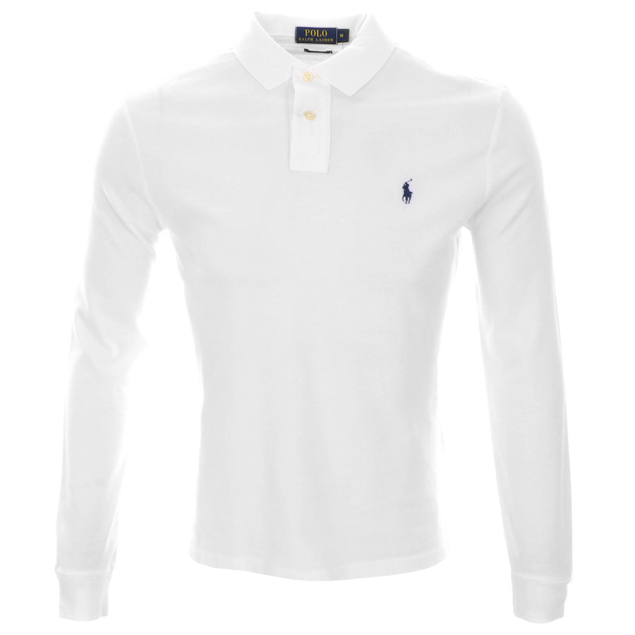 Classic Fit Long Sleeved Polo - white