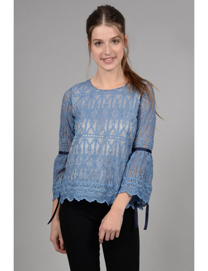 MOLLY BRACKEN LACE TRAPEZE TOP