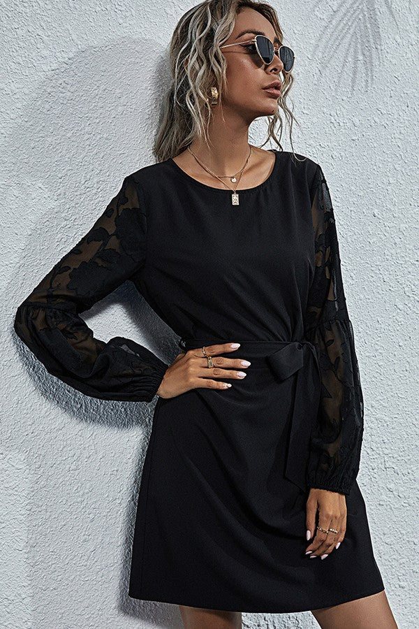 ESLEY COLLECTION LACE SLEEVE DRESS