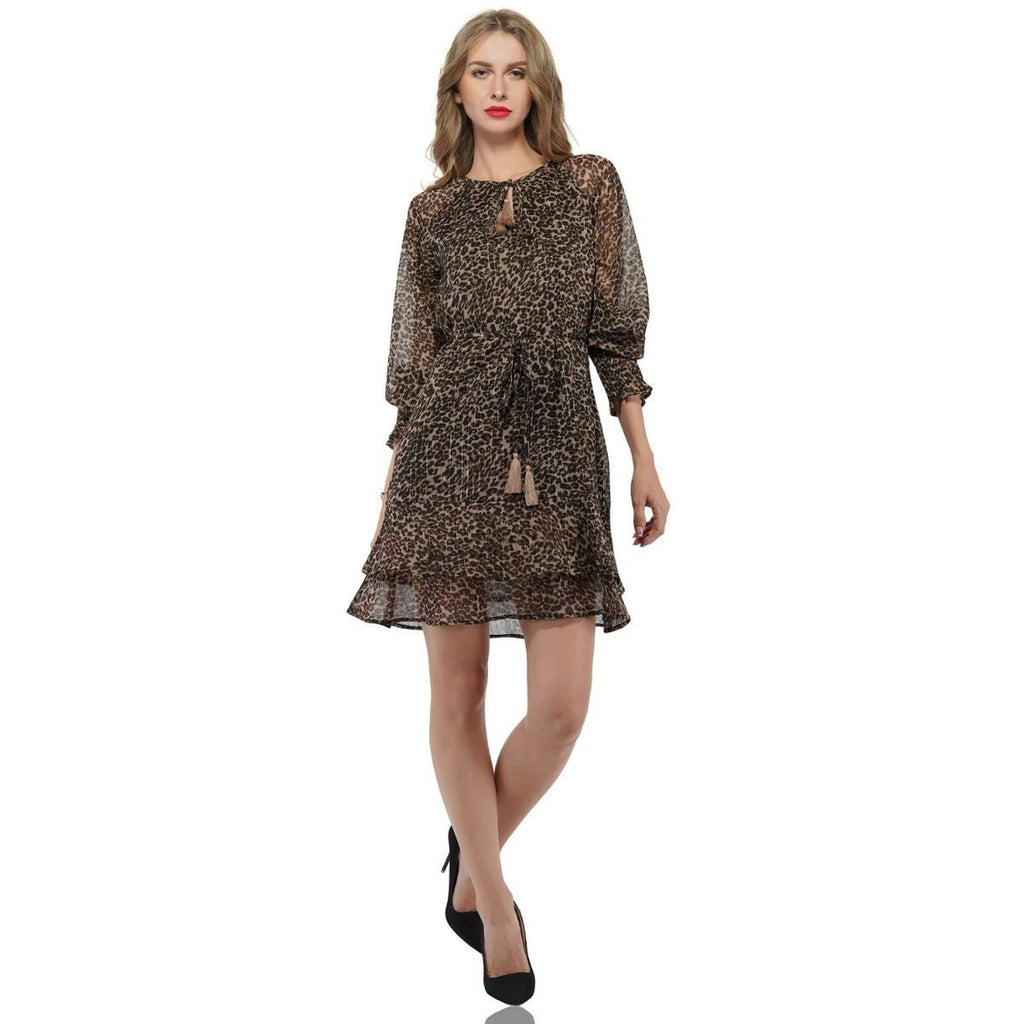 AMERICA & BEYOND LEOPARD RUFFLE DRESS