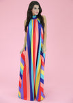 JUDITH MARCH RAINBOW STRIPE MAXI DRESS