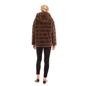 PATTY KIM MOCHA HOODED LUX COAT