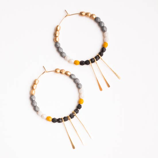 NEST PRETTY THINGS MIDNIGHT GOLD FILLED HOOPS