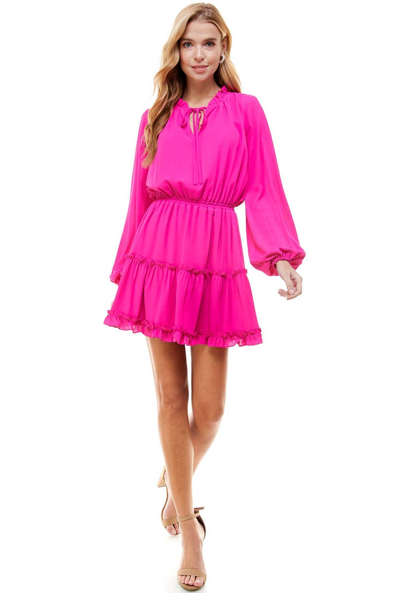 TCEC MAGENTA RUFFLE TRIM DRESS