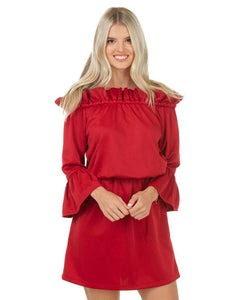 CHELSEA GUNN OFF THE SHOULDER RUFFLE DRESS