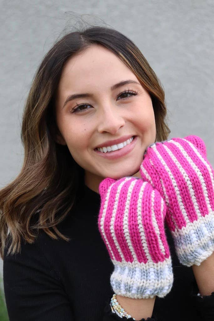 PANACHE STRIPED MITTENS