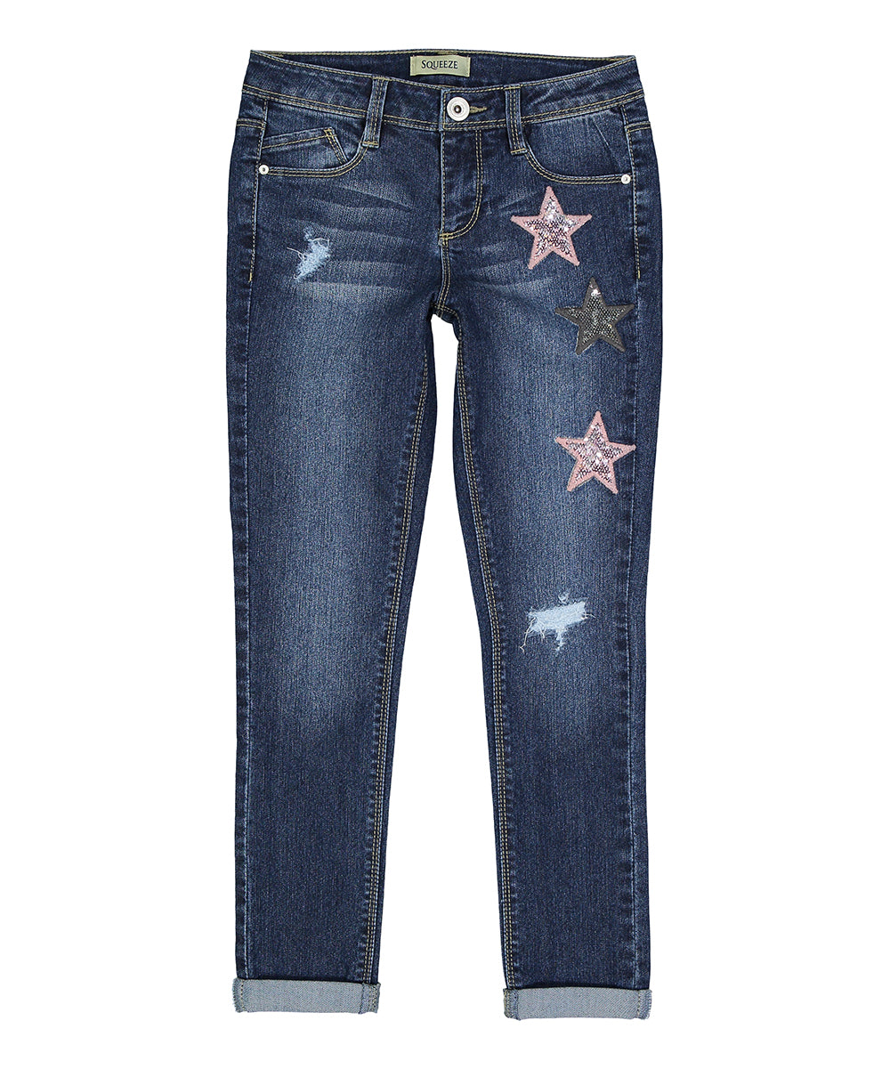 SQUEEZE SEQUINED-STAR ELISE JEANS