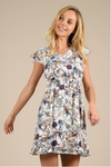 MOLLY BRACKEN PRINTED V-NECK DRESS