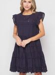 SUNLIGHT NAVY FLUTTER SLEEVE DRESS